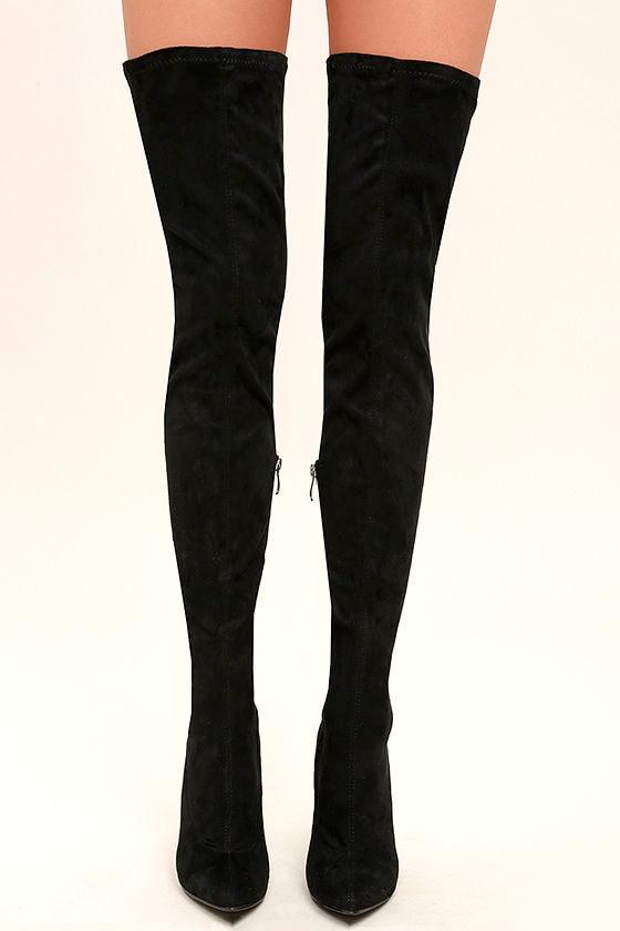 75ee19d210 Sexy Black Thigh High Boots - Vegan Suede Thigh High Boots - OTK ...