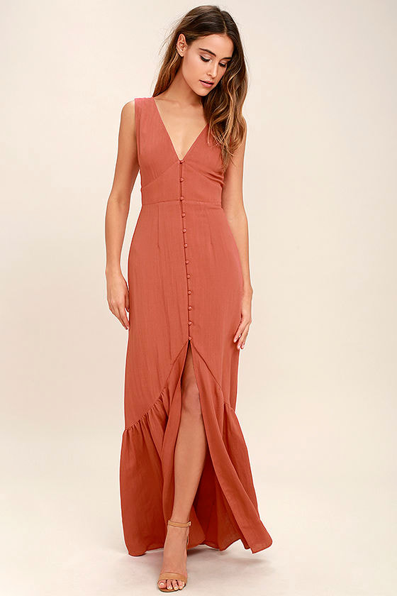 Lovely Rust Orange Dress - Maxi Dress - Sleeveless Dress - $54.00