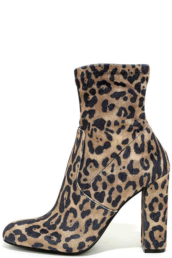 00af197bcd69 Steve Madden Edit - Velvet Booties - Leopard Booties - High Heel ...