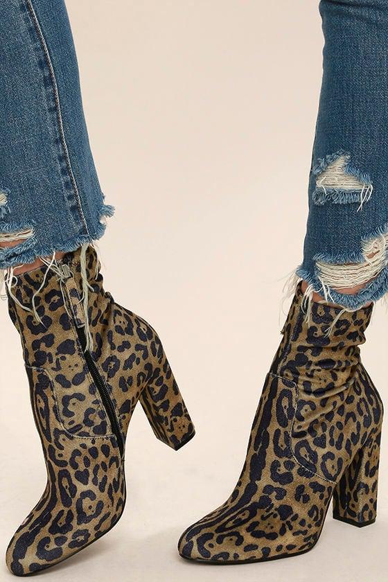 Steve Madden Edit - Velvet Booties - Leopard Booties - High Heel ...