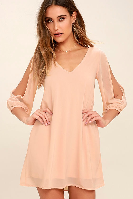 Pretty Blush Pink Dress - Shift Dress - Cold Shoulder Dress - $44.00