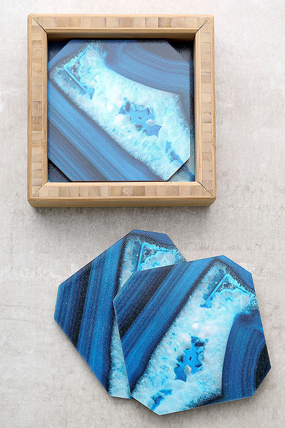 DENY Designs Dark Blue Agate Print Coasters 1