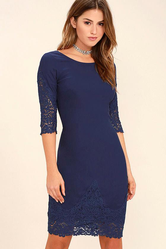 Midnight Garden Navy Blue Lace Bodycon Dress 1