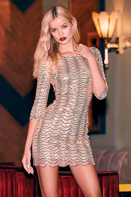 2aff98470945a Lovely Gold Dress - Gold Sequin Dress - Bodycon Dress - $64.00