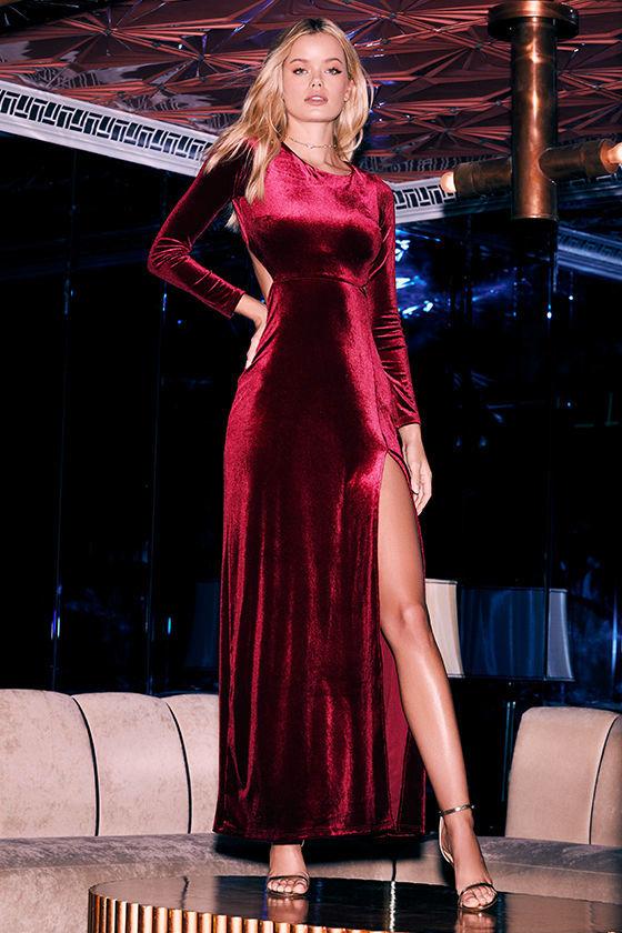 Besame Burgundy Velvet Long Sleeve Maxi Dress 2