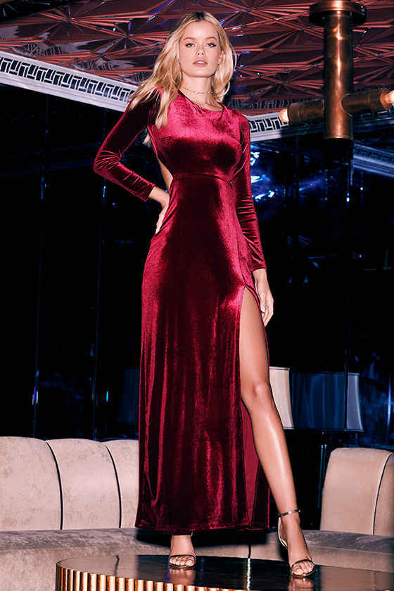 e8ef7110a84 Sexy Burgundy Dress - Maxi Dress - Velvet Dress - Long Sleeve Dress ...