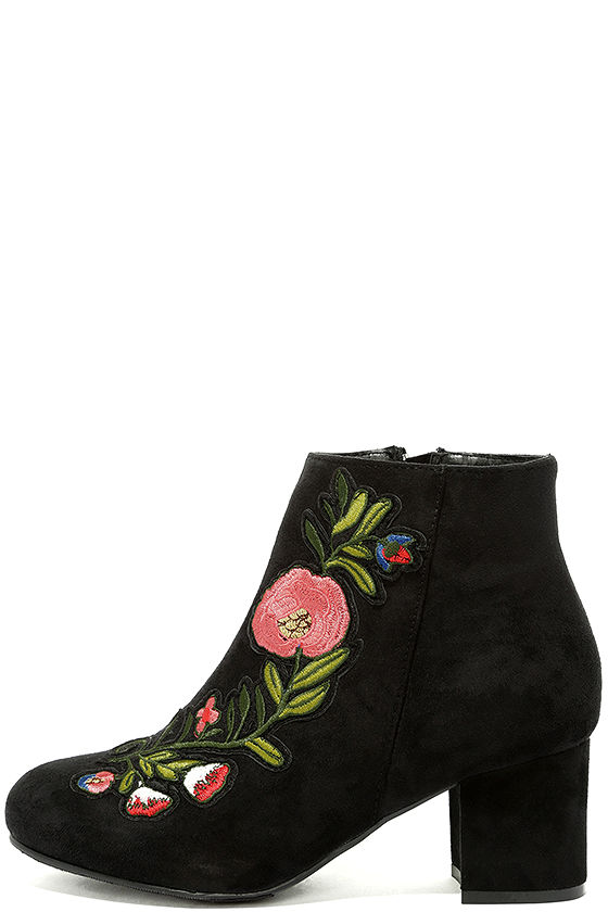 Amanda Black Suede Embroidered Ankle Booties 2