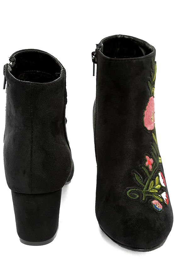 Amanda Black Suede Embroidered Ankle Booties 3