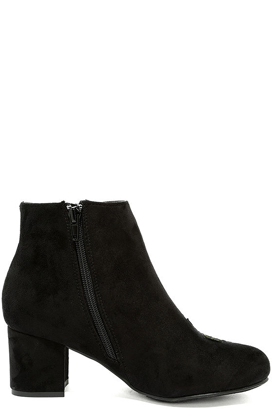 Amanda Black Suede Embroidered Ankle Booties 4