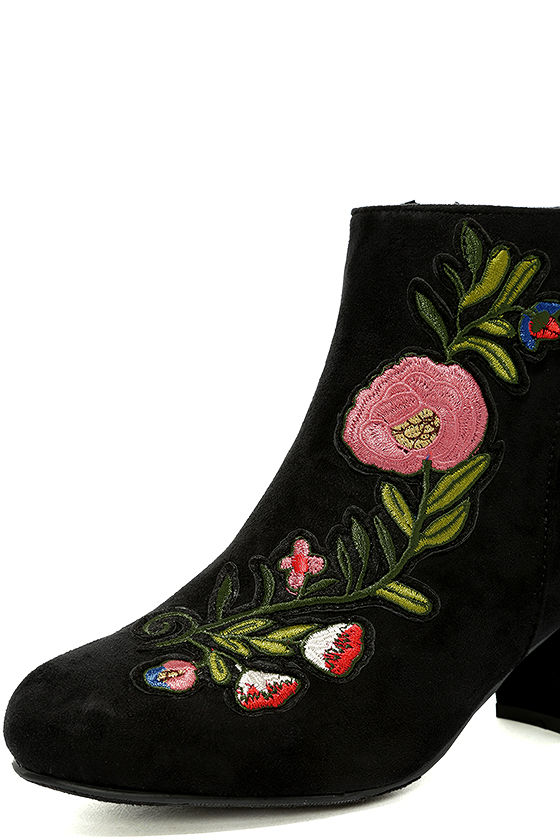 Amanda Black Suede Embroidered Ankle Booties 6
