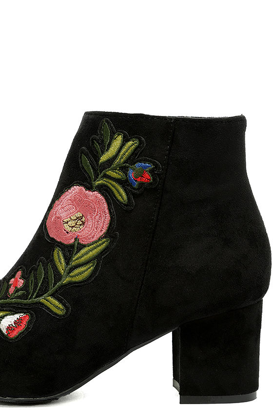 Amanda Black Suede Embroidered Ankle Booties 7