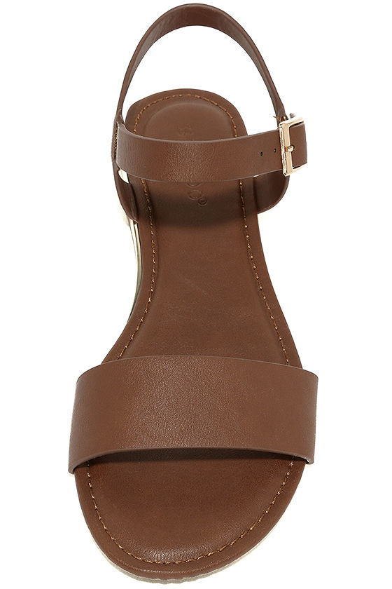 Tierney Cognac Wedge Sandals 5