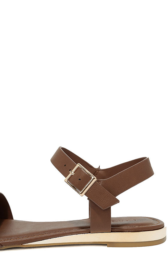 Tierney Cognac Wedge Sandals 7