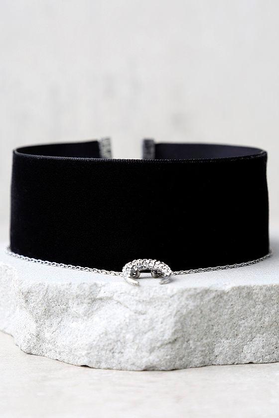 Under the Same Sky Silver and Black Velvet Choker Necklace 3