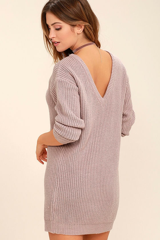 74ad4ee252 Bringing Sexy Back Mauve Backless Sweater Dress