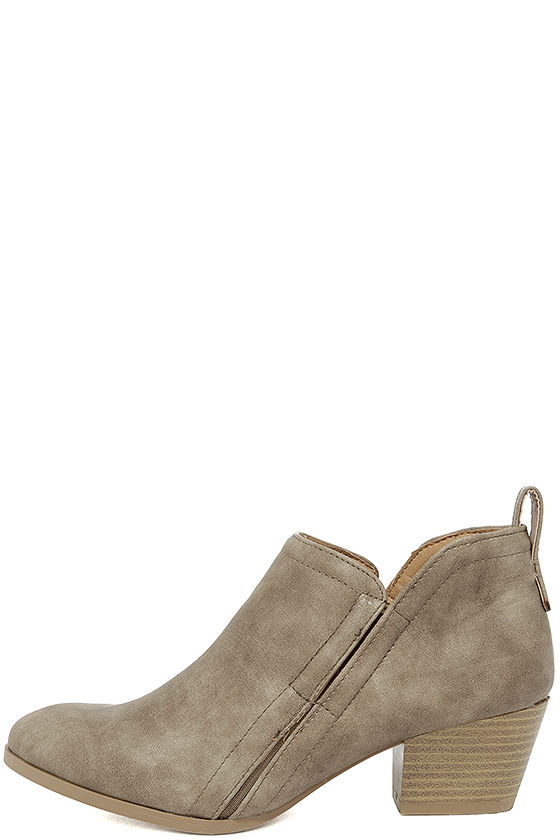 Tanesha Taupe Ankle Booties 1