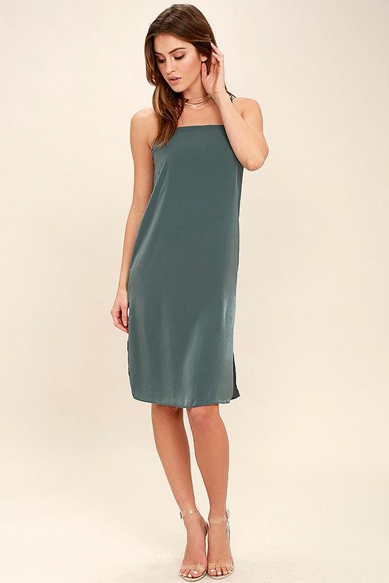 In Action Slate Blue Satin Slip Dress 2