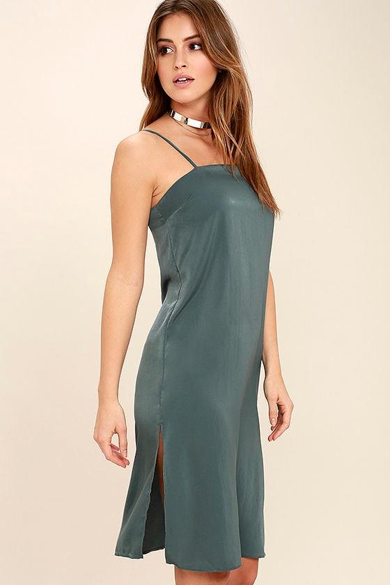In Action Slate Blue Satin Slip Dress 3