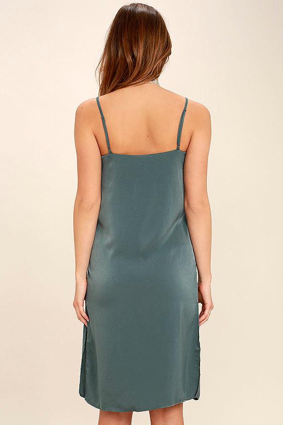 In Action Slate Blue Satin Slip Dress 4