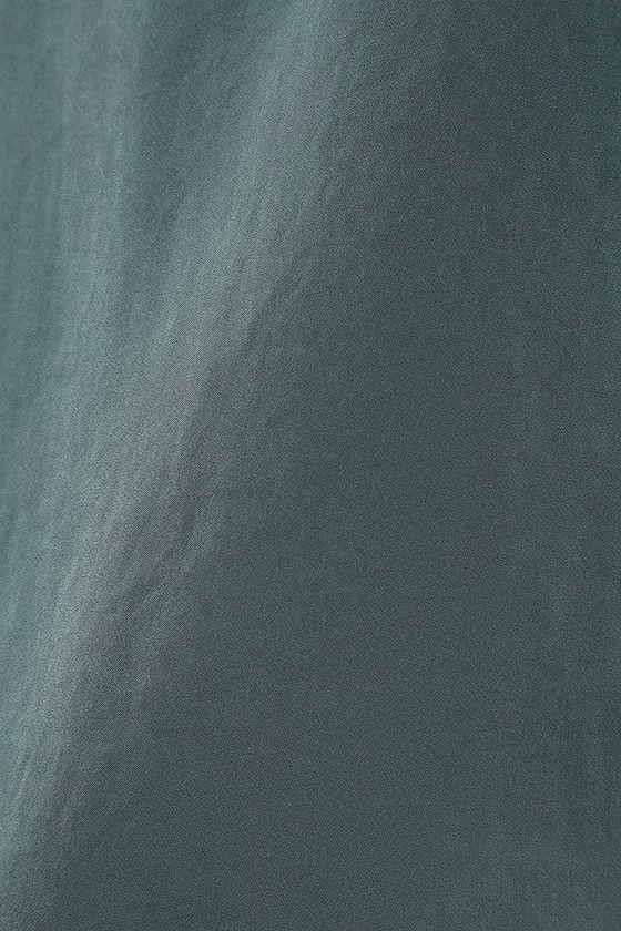 In Action Slate Blue Satin Slip Dress 6