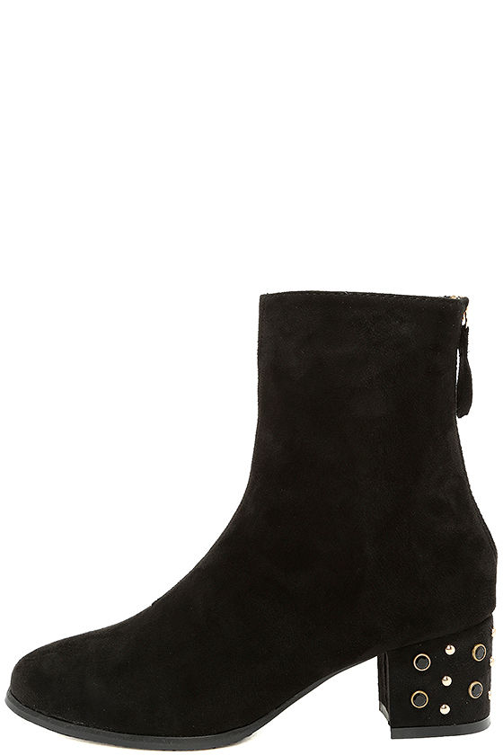 Peggy Black Suede Studded Mid-Calf Boots 2