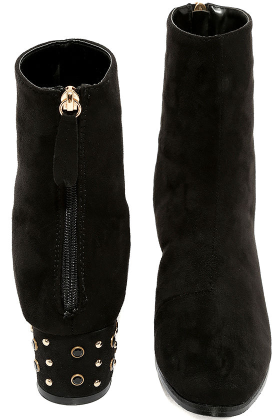 Peggy Black Suede Studded Mid-Calf Boots 3