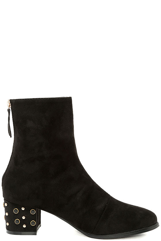 Peggy Black Suede Studded Mid-Calf Boots 4