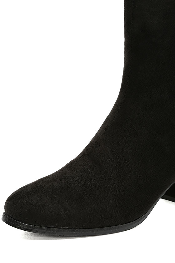 Peggy Black Suede Studded Mid-Calf Boots 6