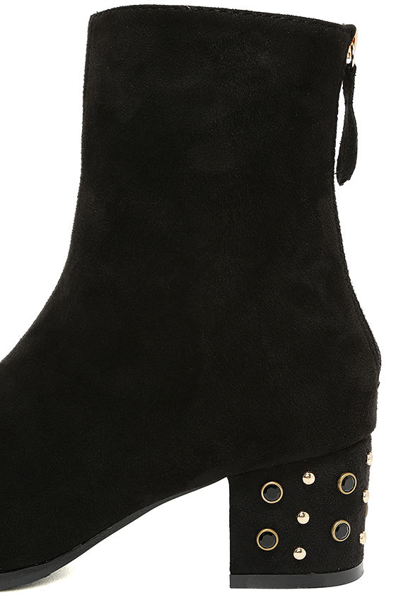 Peggy Black Suede Studded Mid-Calf Boots 7