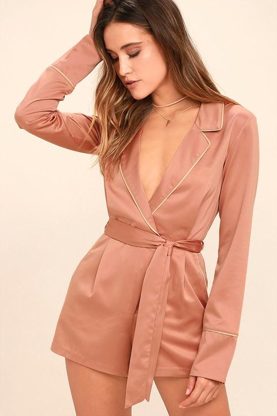 Morning Star Blush Pink Satin Long Sleeve Romper 1