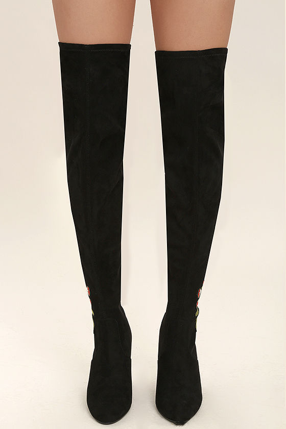 f4c7ce99d4f Steve Madden Envoke Black Suede Embroidered Over the Knee Boots