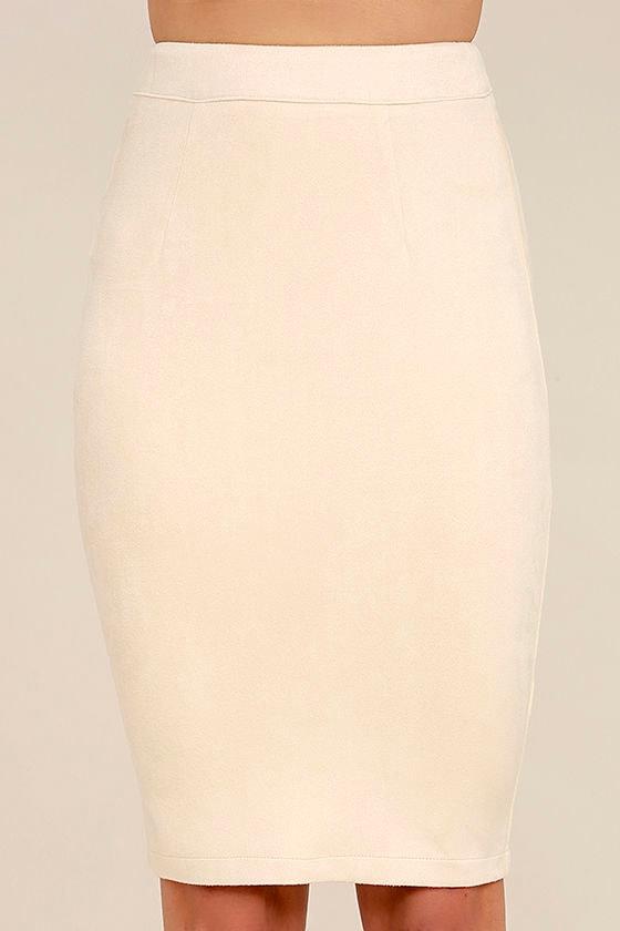 Superpower Light Beige Suede Pencil Skirt 4