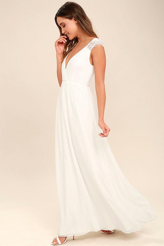 Whimsical Wonder White Lace Maxi Dress 2