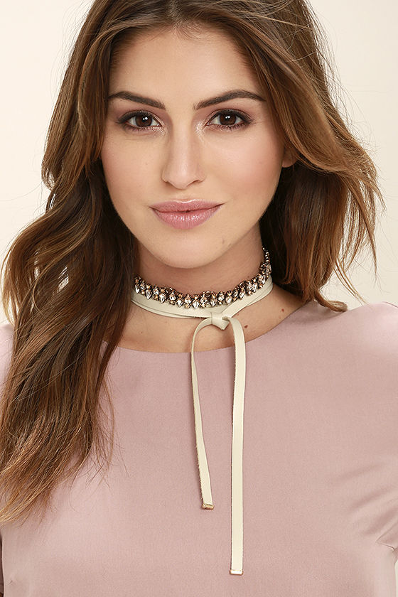 Dream Queen Amber and Beige Rhinestone Wrap Necklace 1