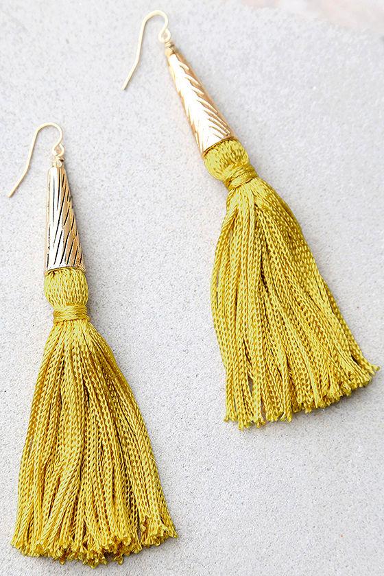 fe9c63a4777574 Vanessa Mooney Claudette - Mustard Yellow Earrings - Tassel Earrings -  $48.00