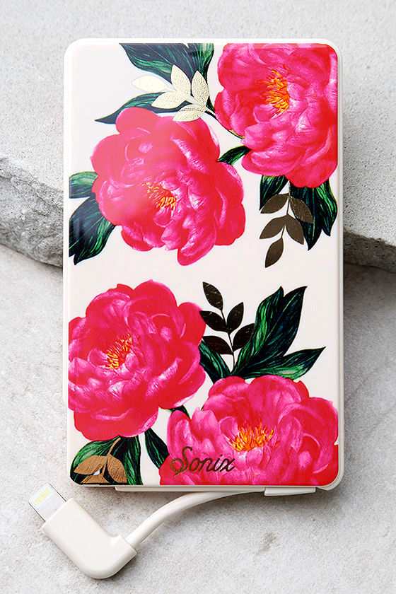 Sonix Cora Pick Me Up Pink Floral Print Portable Charger 1