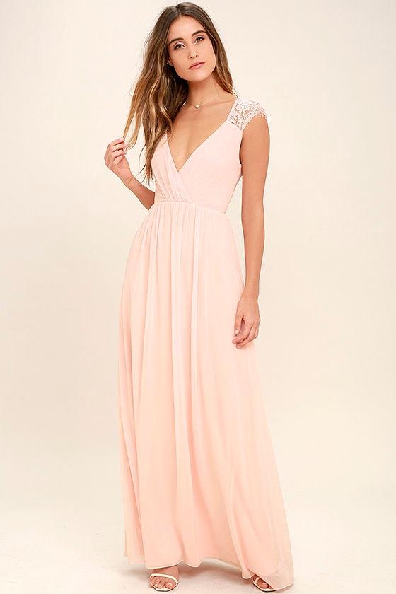 lovely blush pink dress - maxi dress - lace dress - gown - $109.00