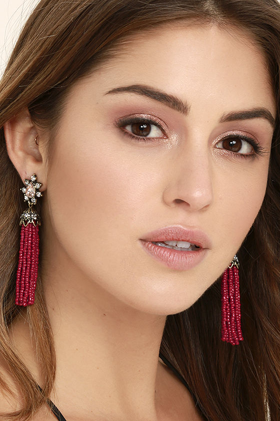 Faithfully Red Beaded Tassel Earrings 1