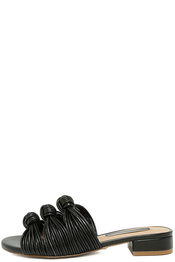 Kensie Kylee Black Knotted Slide Sandals 1