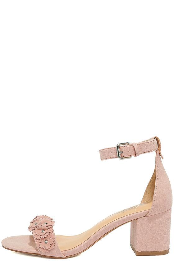 Daya by Zendaya Marietta Blush Suede Ankle Strap Heels 2