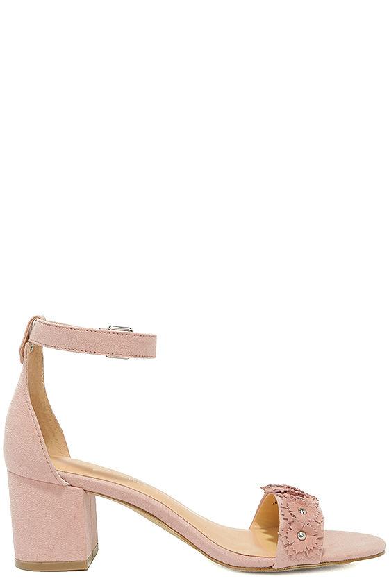 Daya by Zendaya Marietta Blush Suede Ankle Strap Heels 4