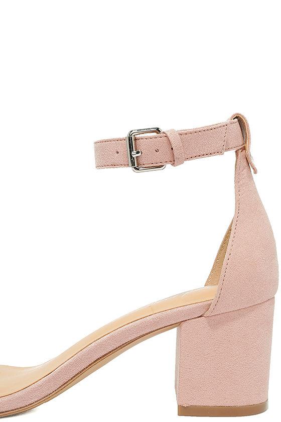 Daya by Zendaya Marietta Blush Suede Ankle Strap Heels 67
