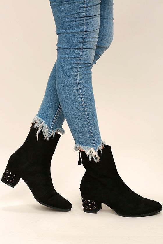 Peggy Black Suede Studded Mid-Calf Boots 1