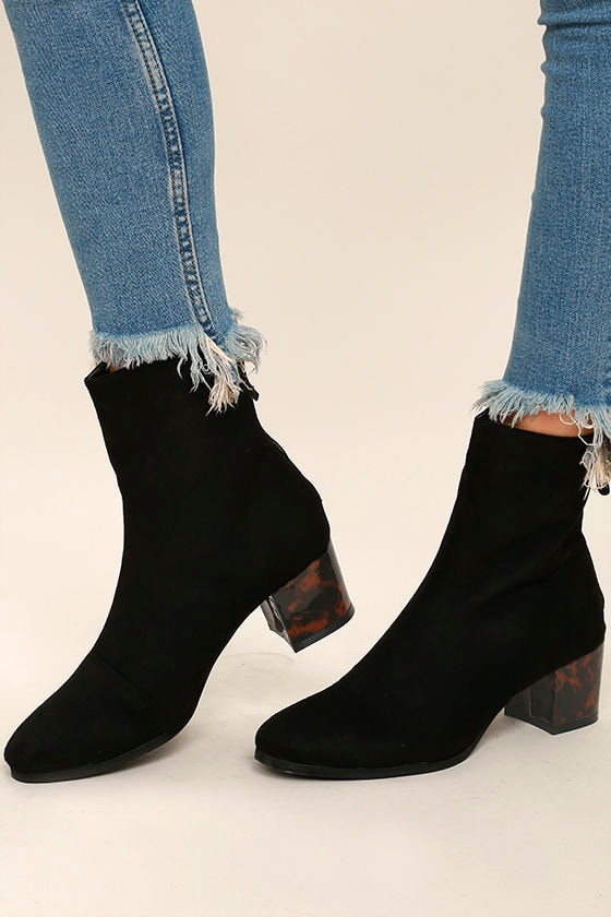 Gianna Black Suede Mid-Calf Boots 1