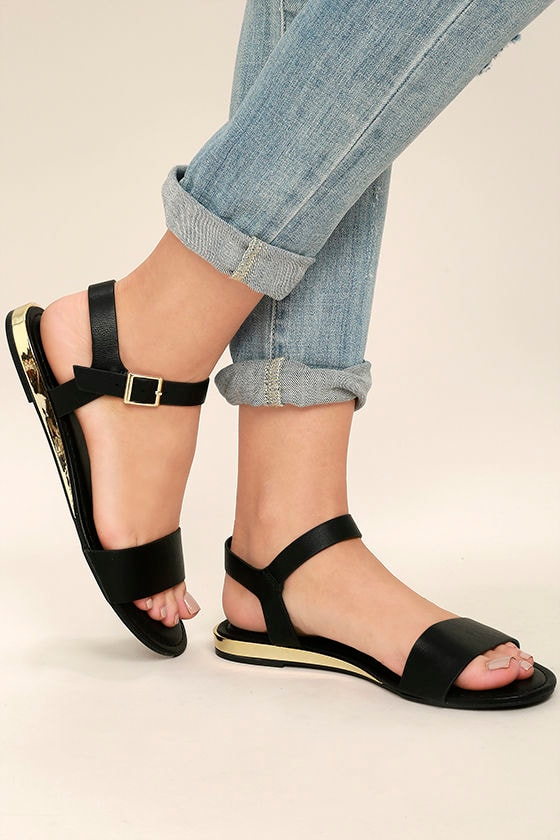 f59c7eaa1eff Cute Black Sandals - Wedge Sandals - Black and Gold Sandals -  21.00