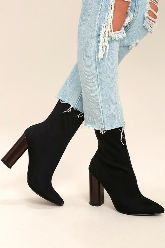 Araceli Black Knit Mid-Calf High Heel Booties 1