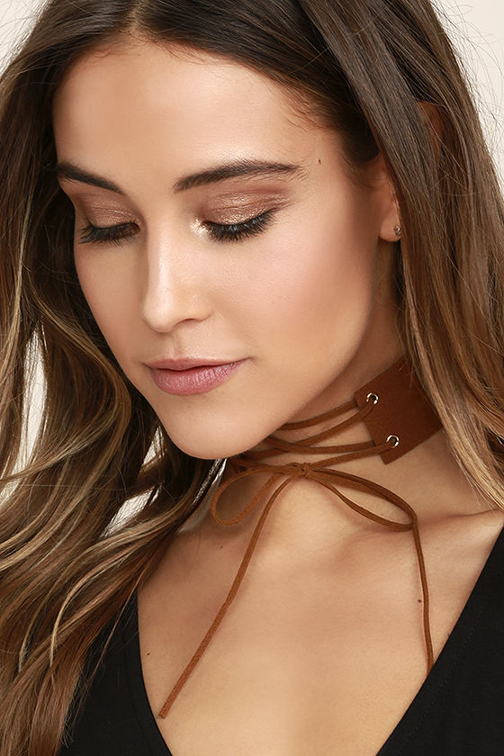 Be Good Brown Lace-Up Choker Necklace 1