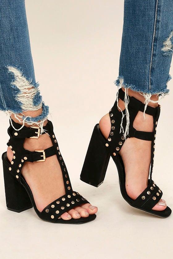 Cool Black Heels - Studded Heels - Vegan Suede Heels - $47.00