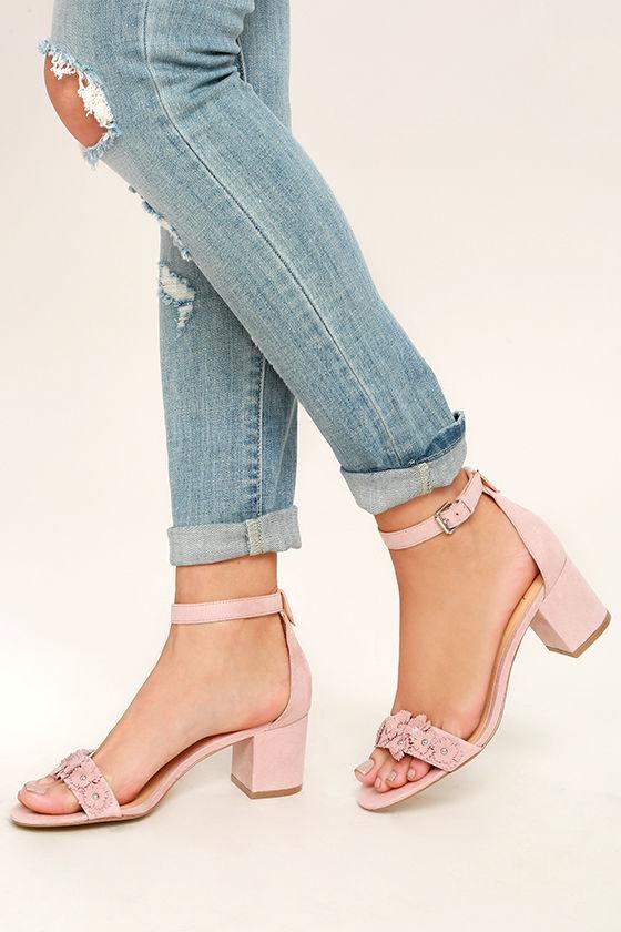 Daya by Zendaya Marietta Blush Suede Ankle Strap Heels 1