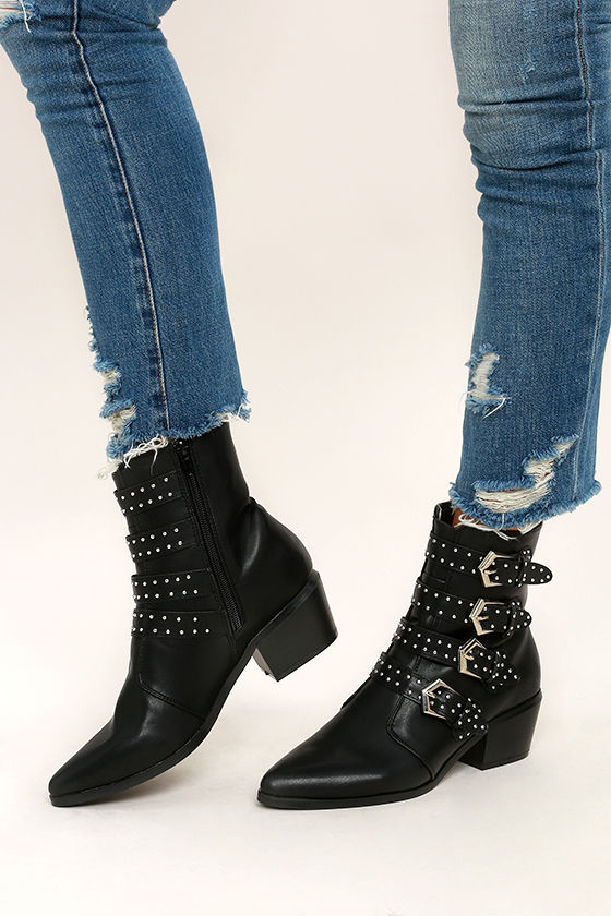 c3714ac1e702 Cool Black Mid-Calf Boots - Belted Boots - Studded Boots -  53.00
